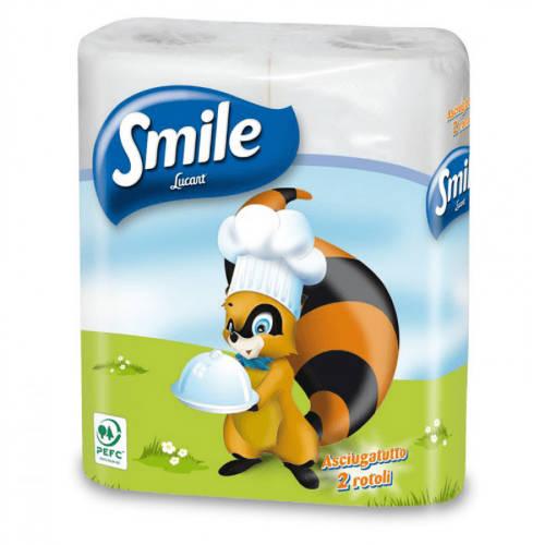 Smile 2-es konyhai törlő, 2 rétegű, cellulóz, 2 tekercs/csomag, 24 csomag/karton
