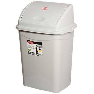 Billenőfedeles, műanyag, szürke szemetes 50 literes