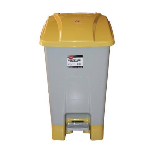 Szelektív hulladékgyűjtő konténer, műanyag, pedálos 70 literes sárga