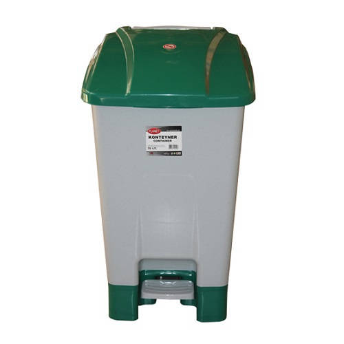 Szelektív hulladékgyűjtő konténer, műanyag, pedálos 70 literes zöld
