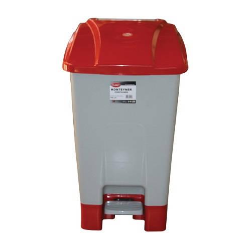 Szelektív hulladékgyűjtő konténer, műanyag, pedálos 70 literes piros