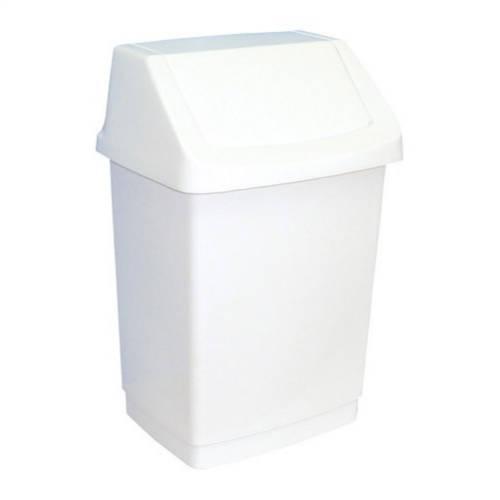 Billenőfedeles, műanyag, LUXURY fehér szemetes 9 literes