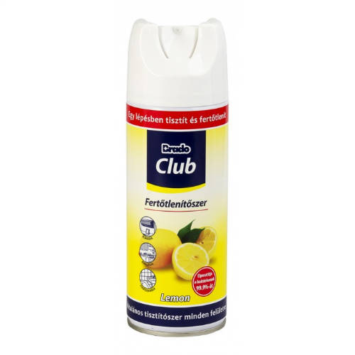 Brado Club fertőtlenítő aeroszol 400 ml lemon KÉSZLET EREJÉIG!
