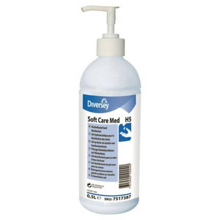 Soft Care Med H5 alkoholtartalmú kézfertőtlenítő gél 500 ml pumpás